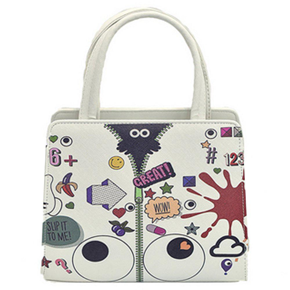 Women's Handbag Trendy Cartoon Heart Eye Pattern Lovely Bag - WHITE