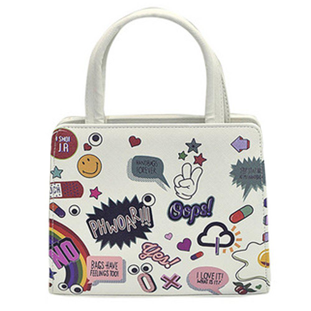 Women's Handbag Trendy Cartoon Heart Eye Pattern Lovely Bag - IVORY COLOR