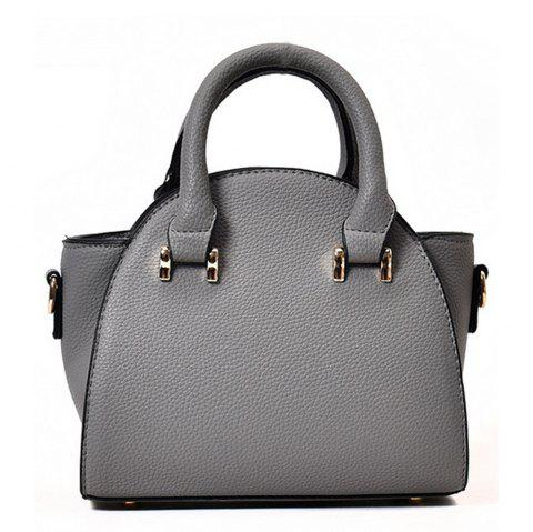 Women's Handbag Solid Color Fresh Style All Matched Lichee Pattern Bag - GRAY