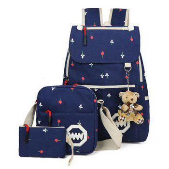 Girl s Bags Set Canvas Backpack Crossbody