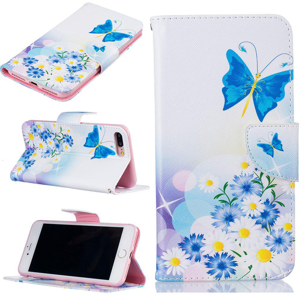Blue Butterfly Pattern Luxury Style PU Leather Mobile Phone Case Flip Cover for iPhone 7 Plus / 8 Plus купить дешево онлайн