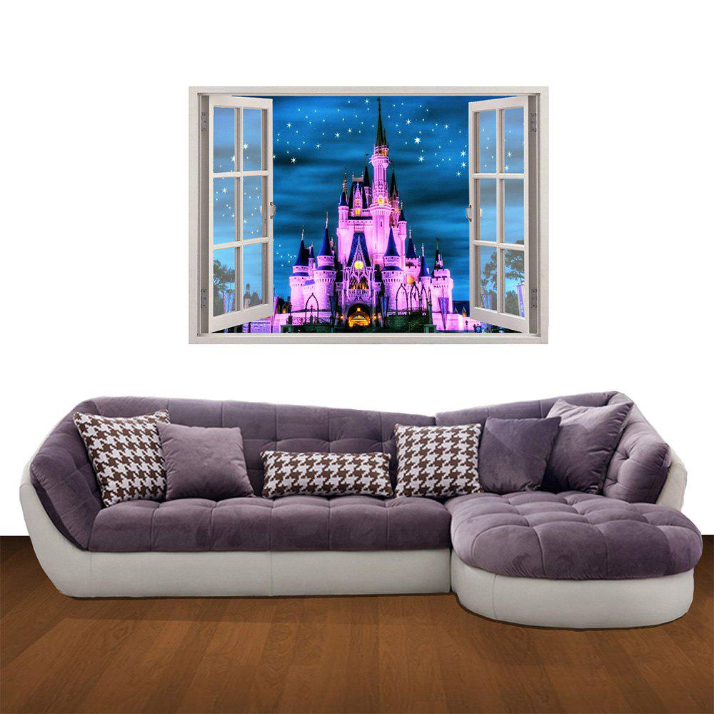 Creative 3D Purple Castle Background Wall Sticker 3d ручка feizerg f001 purple fp001