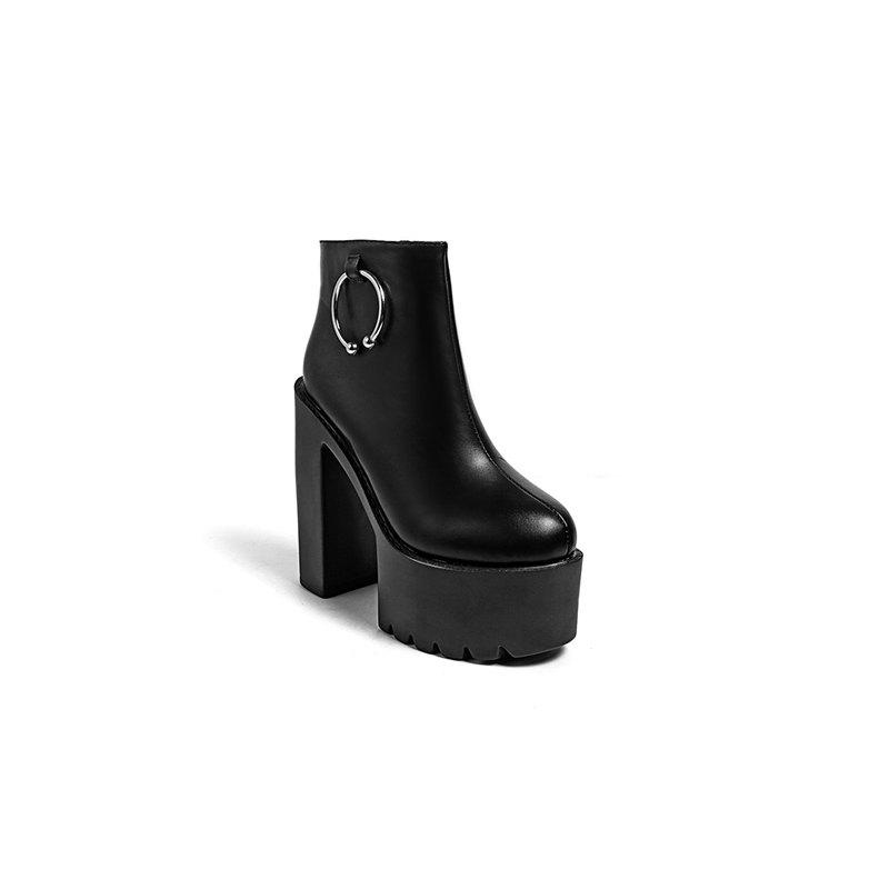 High Thick Heels Waterproof Platform Martin Boot - BLACK 34