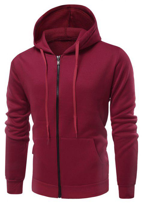 Fashion Solid Color Wild Men Coat Hoodie - BURGUNDY M