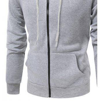 Fashion Solid Color Wild Men Coat Hoodie - CHROME 3XL
