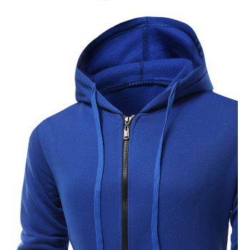 Fashion Solid Color Wild Men Coat Hoodie - BLUEBELL M