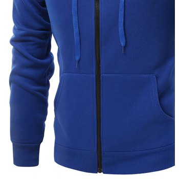 Fashion Solid Color Wild Men Coat Hoodie - BLUEBELL L