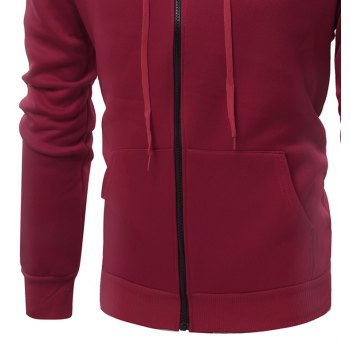 Fashion Solid Color Wild Men Coat Hoodie - BURGUNDY L