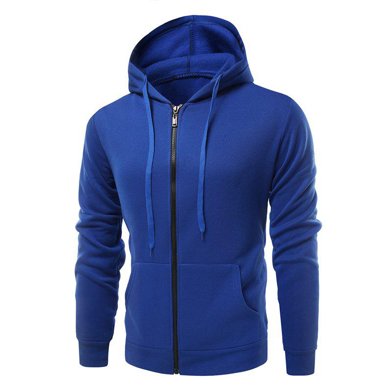 Fashion Solid Color Wild Men Coat Hoodie - BLUEBELL 2XL