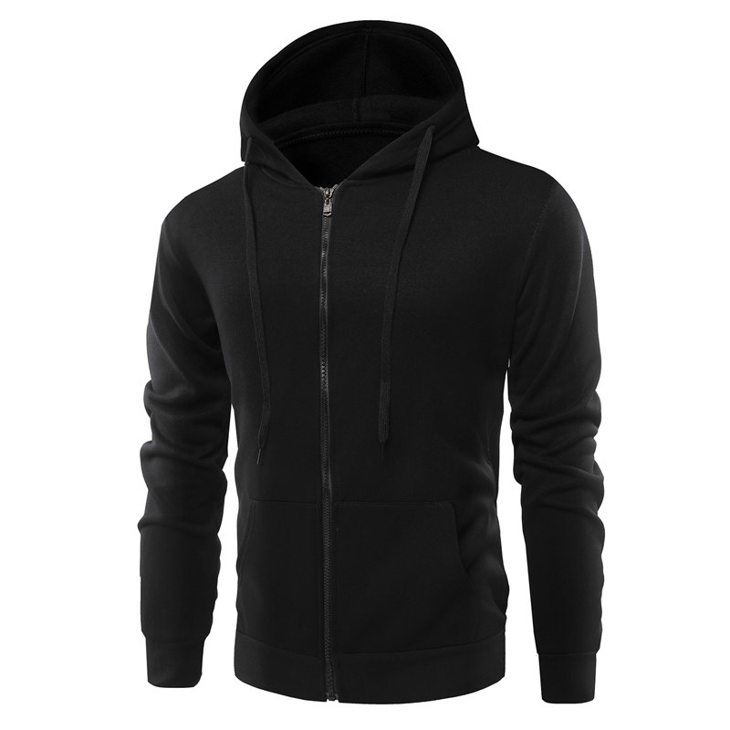Fashion Solid Color Wild Men Coat Hoodie - BLACK M