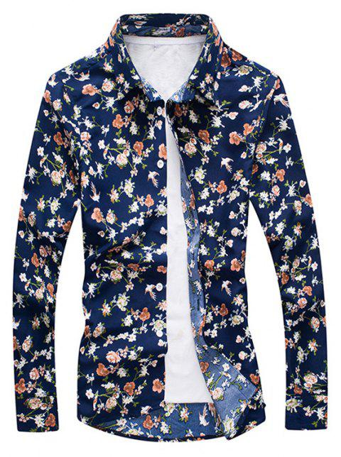Casual Floral Men'S Long-Sleeved Shirt - FLORAL 3XL
