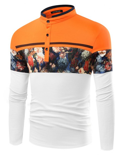 Fashionable Stand Collar Business Long-Sleeved POLO Shirt - WHITE 2XL