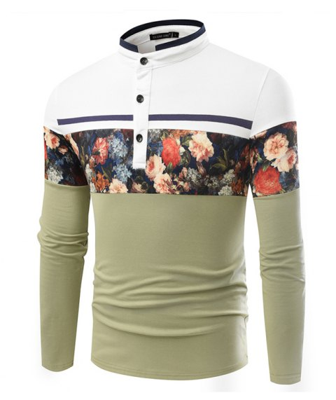 Fashionable Stand Collar Business Long-Sleeved POLO Shirt - IVY XL