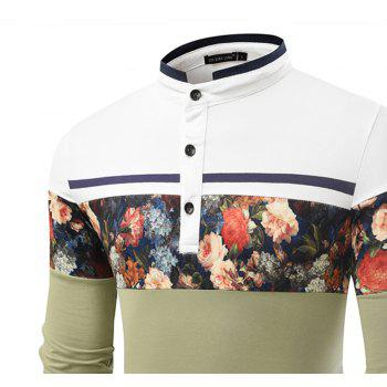 Fashionable Stand Collar Business Long-Sleeved POLO Shirt - IVY 3XL