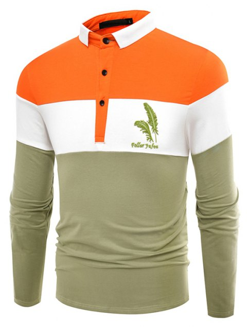 Fashion Business Cotton Mixed Color Men'S Lapel Long Sleeve POLO Shirt Men T Shirt - IVY M