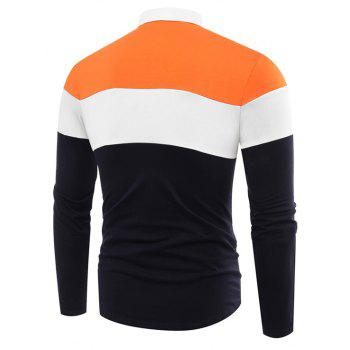 Fashion Business Cotton Mixed Color Men'S Lapel Long Sleeve POLO Shirt Men T Shirt - ROYAL L