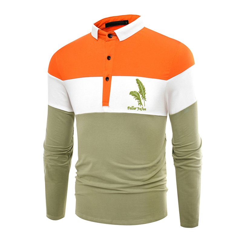 Fashion Business Cotton Mixed Color Men'S Lapel Long Sleeve POLO Shirt Men T Shirt - IVY L