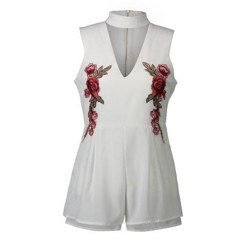 2017 New Style Rose Embroidery Sexy V-Neck Jumpsuits - WHITE 2XL