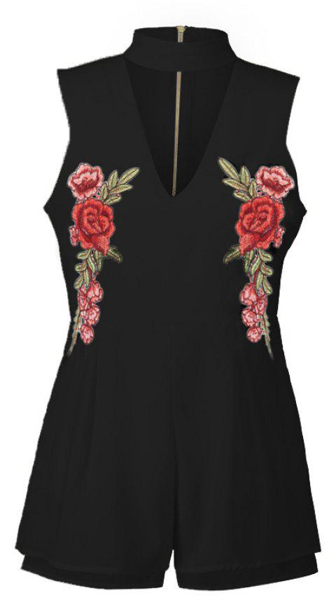 2017 New Style Rose Embroidery Sexy V-Neck Jumpsuits - BLACK S