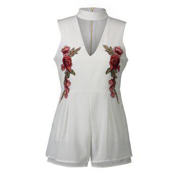 2017 New Style Rose Embroidery Sexy V-Neck Jumpsuits - WHITE WHITE