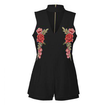 2017 New Style Rose Embroidery Sexy V-Neck Jumpsuits - BLACK BLACK