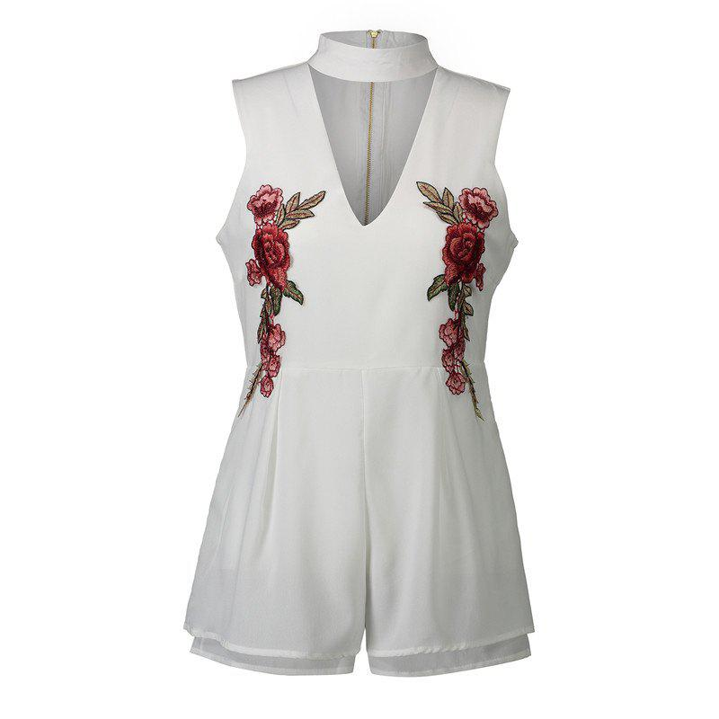 2017 New Style Rose Embroidery Sexy V-Neck Jumpsuits - WHITE M