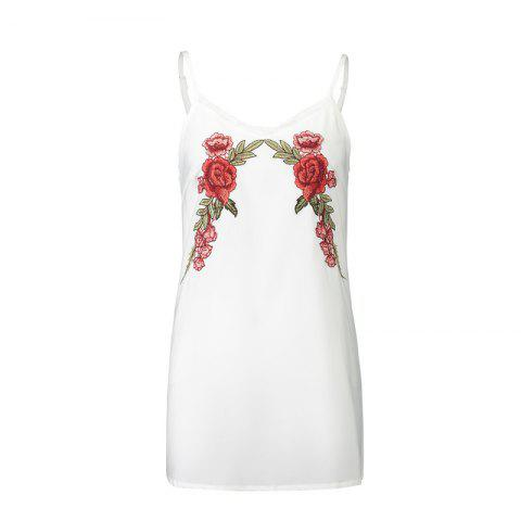 New 2017 Euramerican Embroidered Flowers Bud Silk  Sexy Strap Dress - WHITE L