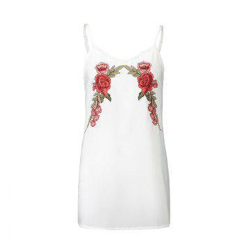 New 2017 Euramerican Embroidered Flowers Bud Silk  Sexy Strap Dress - WHITE WHITE