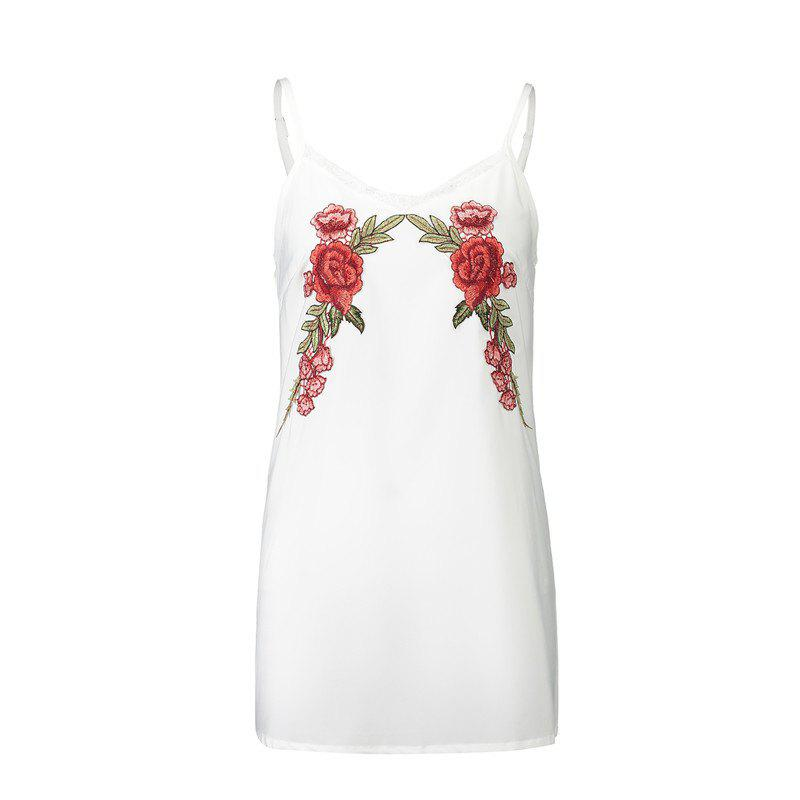 New 2017 Euramerican Embroidered Flowers Bud Silk  Sexy Strap Dress - WHITE S