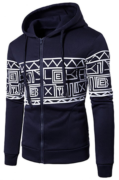 New Men'S New Casual Sweater Stylish Geometric Printed Hoodie - CADETBLUE 2XL