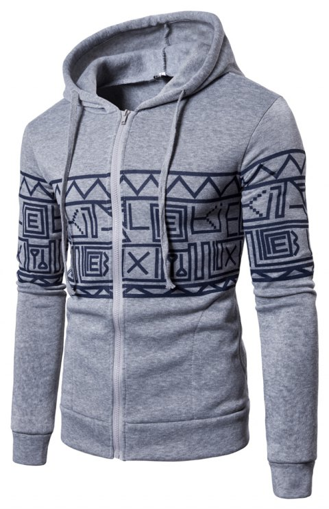 New Men'S New Casual Sweater Stylish Geometric Printed Hoodie - GRAY L