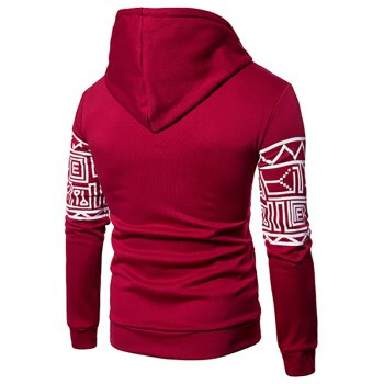 New Men'S New Casual Sweater Stylish Geometric Printed Hoodie - RED M