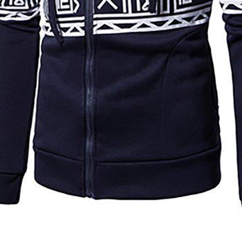 New Men'S New Casual Sweater Stylish Geometric Printed Hoodie - CADETBLUE XL