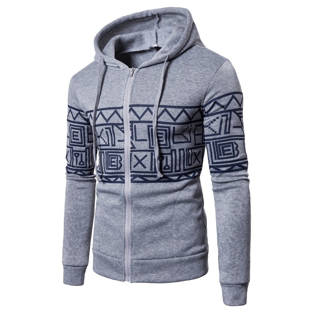 New Men'S New Casual Sweater Stylish Geometric Printed Hoodie - GRAY 2XL