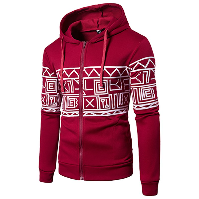 New Men'S New Casual Sweater Stylish Geometric Printed Hoodie - RED 2XL