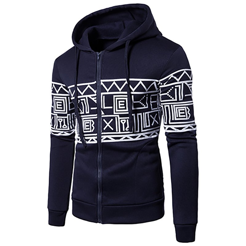 New Men'S New Casual Sweater Stylish Geometric Printed Hoodie - CADETBLUE M