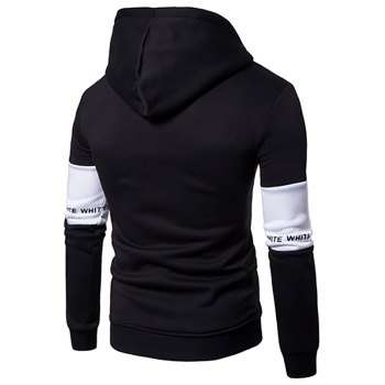 New Men'S Casual Hooded  Fashion Sleeve Stitching Hedging Hoodie - BLACK M