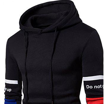 Men'S New Casual  Fashion Sleeves Spell Color Hoodie - BLACK 2XL