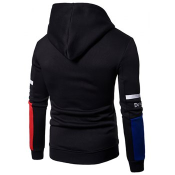 Men'S New Casual  Fashion Sleeves Spell Color Hoodie - BLACK M