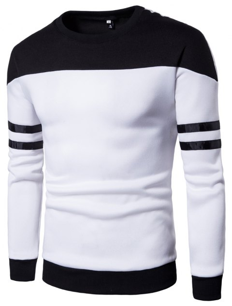Men Casual Color Block Pullover Sweatshirt - WHITE L