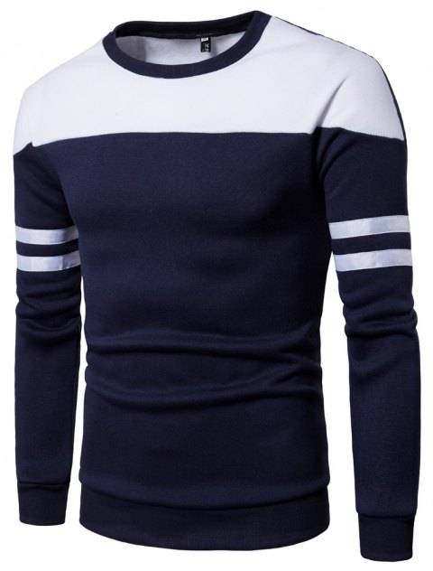 Men Casual Color Block Pullover Sweatshirt - CADETBLUE 2XL