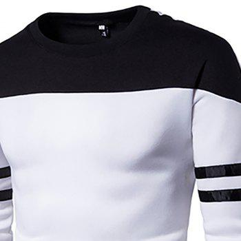 Men'S New Casual Pullover Fashion Spell Color Sweatershirt - WHITE M