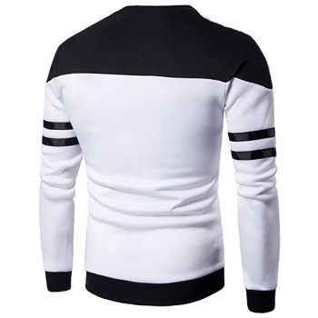 Men'S New Casual Pullover Fashion Spell Color Sweatershirt - WHITE L
