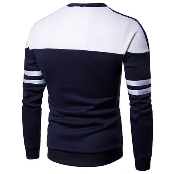 Men'S New Casual Pullover Fashion Spell Color Sweatershirt - CADETBLUE XL
