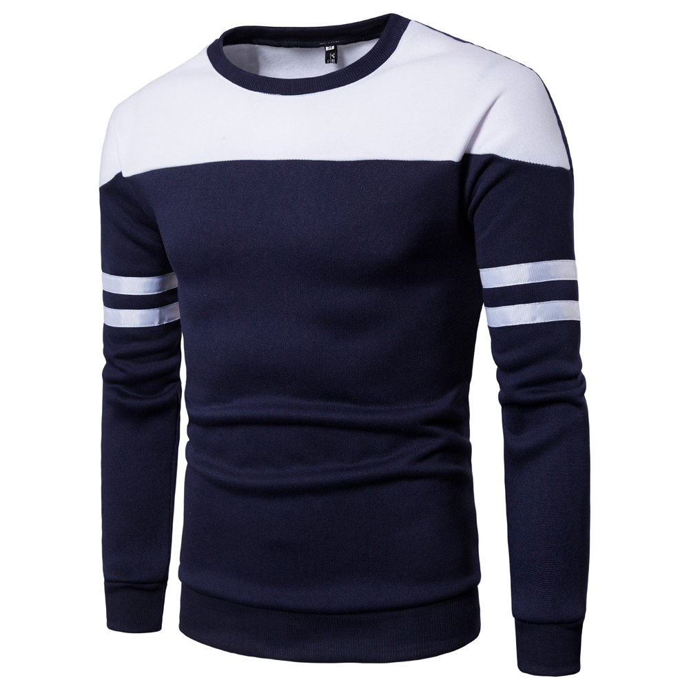 Men'S New Casual Pullover Fashion Spell Color Sweatershirt - CADETBLUE M