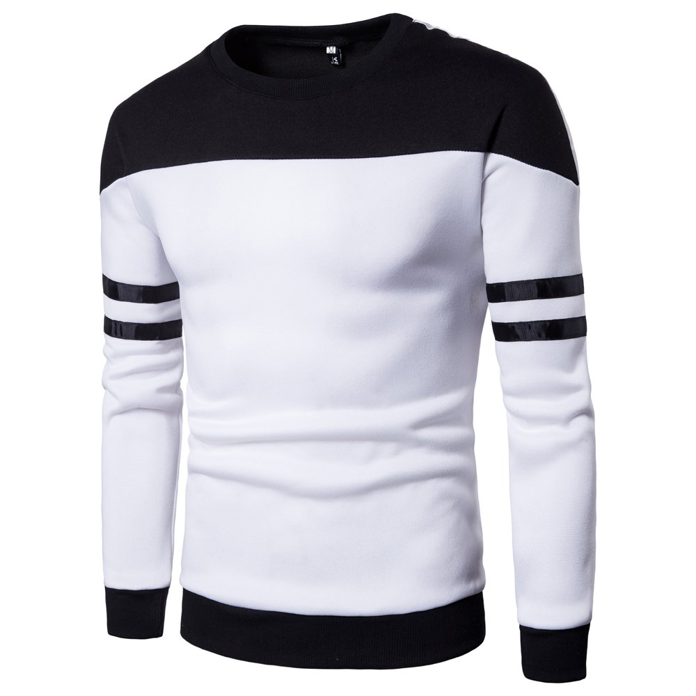 Men'S New Casual Pullover Fashion Spell Color Sweatershirt - WHITE XL
