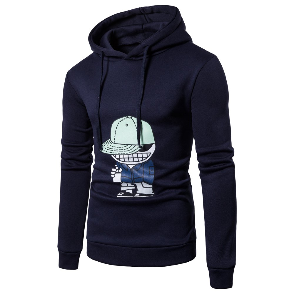 Men'S New Cartoon Character Printing Hooded Casual Hoodie - CADETBLUE XL