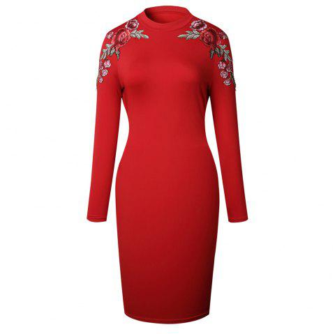 2018 The New Embroidery Is Trimmed in Plain Coloured Dress - RED S