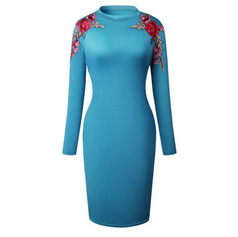 2018 The New Embroidery Is Trimmed in Plain Coloured Dress - BLUE L