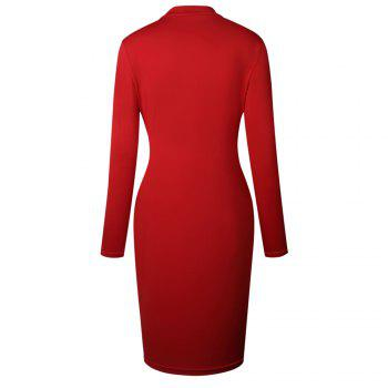 2018 The New Embroidery Is Trimmed in Plain Coloured Dress - RED 2XL
